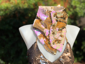 Iridescent PInk/White and Gold Flip Sequin Scarf