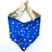 Super Hero Pet Bandana's;  Blue, Red and Gold Stars lining.