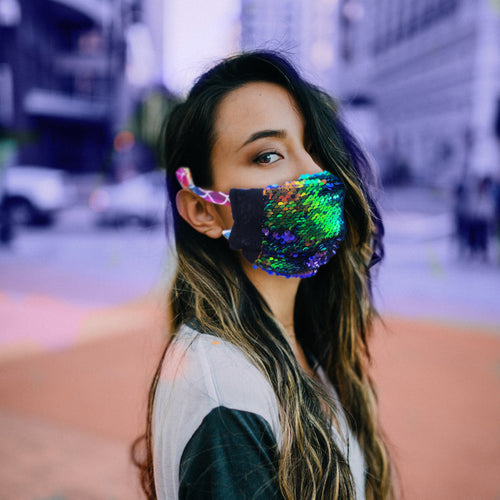 Mermaid Blue Sequin Face Mask