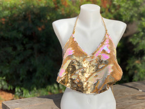 Women's Flip Sequin Backless Halter Top.  Iridescent White and Gold Sequins