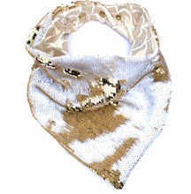 Gold and White Sequin Snap Back Bandana