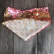 Gold and Pink Flip Sequin Pet Bandana.