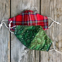 Red Plaid Winter Holiday Cotton Mask.  Reversible custom lining.  Pleated or Fitted. 3 sizes. Loops or straps.