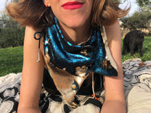 Cobalt Blue Matte and Gold Matte Flip Sequin Scarf