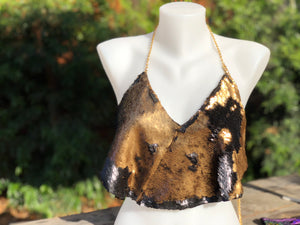 Women's Matte Black and Matte Gold Flip Sequin Backless Halter Top.  Adjustable Size Lightweight Chains.