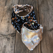 Reindeer Lining Pet Bandana with Reversible flip sequins.