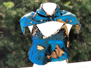 Women's Flip Sequin Backless Halter Top.  Matte Cobalt Blue and Matte Gold Sequins