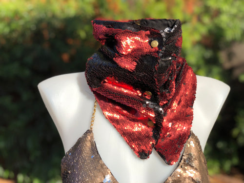 Red and Black Flip Sequin Scarf