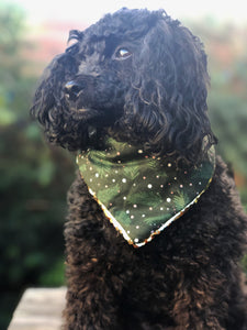 Green Pine and Pink Snow Winter Holiday Pet Bandana with Reversible Flip Sequins