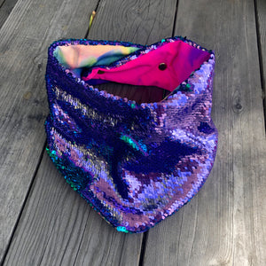 Lilac and Blue Sequin Pet Bandana with Tie Dye Lining
