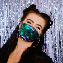 Lilac and Blue Pleated Sequin Face Mask