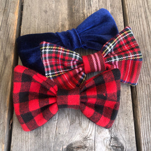 Red and Black Gingham Bow. For You or Your Pets.  Bowties, Headbands, Hair Clip Hair ties.