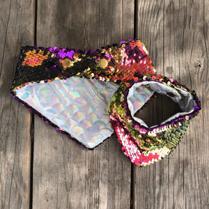 Scallop Mermaid Lining Pet Bandana with Mermaid Flip Sequins