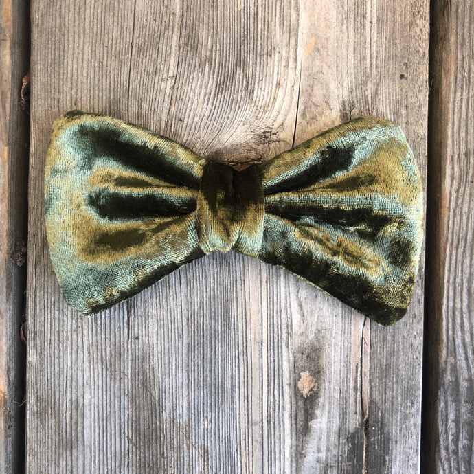 Moss Green Velvet  Bow. For You or Your Pets.  Bowties, Headbands, Hair Clip Hair ties.