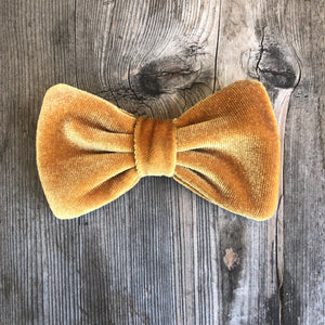 Mustard Yellow Velvet Bow. For You or Your Pets.  Bowties, Headbands, Hair Clip Hair ties.