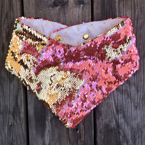 Pink and Gold Sequin Face Mask