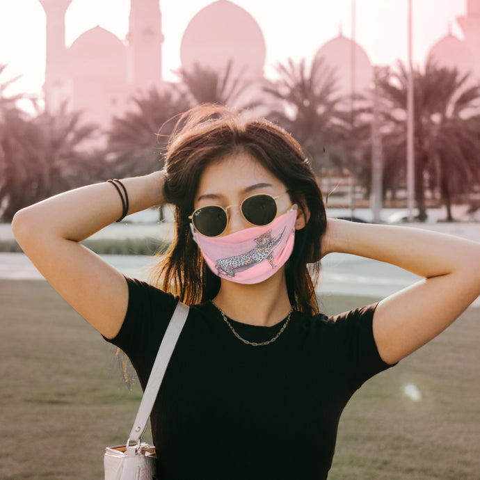 Pink Leopard Chiffon Print Pleated Mask