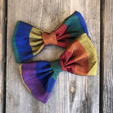 Rainbow Silk Bow. For You or Your Pets.  Bowties, Headbands, Hair Clip Hair ties.