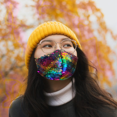 Fitted Rainbow and Gold Flip Sequin Mask