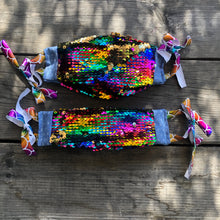 Rainbow Gold Sequin Face Mask