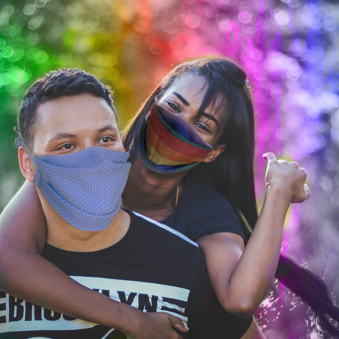 Rainbow Print Silk Pleated Mask
