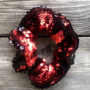 Matte Black and Matte Red Flip Sequin Face Mask