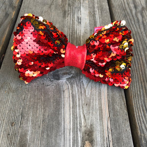 Red and Gold Sequin Dog Bow Ties, Hair Clips and Headbands