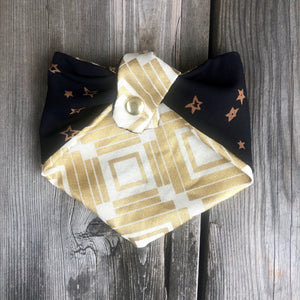 Black Stars Print Pet Bandana.  Reversible.  Light weight. Double Snaps.