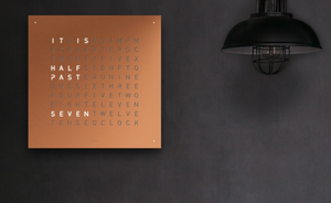 Qlocktwo Large Brushed Copper 90cm x 90cm : Made to Order - The Independent Collective Watches