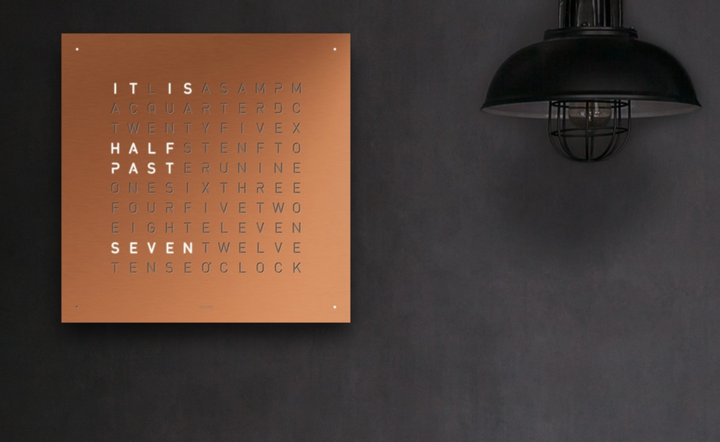 Qlocktwo Large Brushed Copper 90cm x 90cm : Made to Order