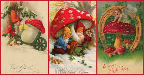 Early Holiday Cards Mushrooms
