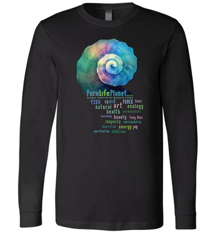 001-PureLifePlanet WordSpiral - Unisex Long Sleeve Crew-Neck T-Shirt