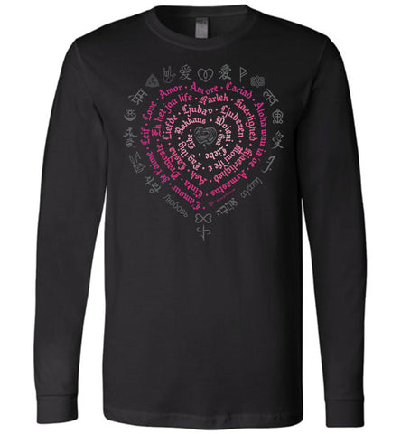 Love Languages (D1) Unisex Long Sleeve Crew Neck 100% Cotton Tee