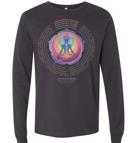 Pancha Koshas 5 Psychic Sheaths Yogi Lotus - Unisex Long Sleeve Crew-Neck T-Shirt