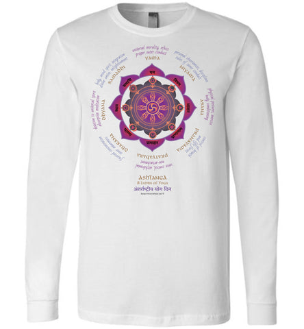 Ashtanga 8 Limbs of Yoga - Unisex Long Sleeve Crew-Neck T-Shir