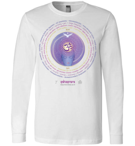 7th Chakra Crown Sahasrara 1000-Petal Lotus - Unisex Long Sleeve Crew-Neck T-Shirt