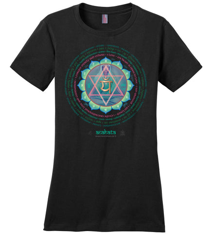 4th Chakra Heart Anahata Yogi Lotus -  Ladies Crew-Neck Short Sleeve T-Shirt