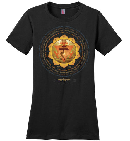 3rd Chakra Navel Manipura Yogi Lotus -  Ladies Crew-Neck Short Sleeve T-Shirt