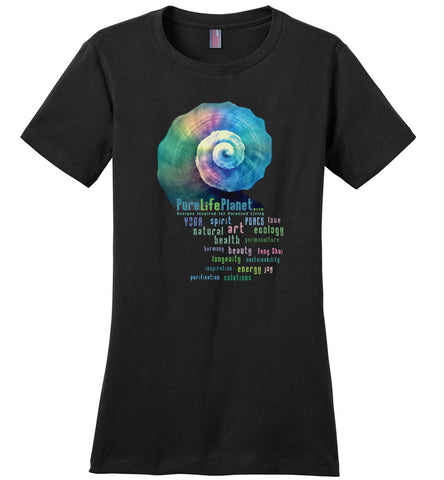 001-PureLifePlanet WordSpiral - Ladies Crewneck Short Sleeve T-Shirt