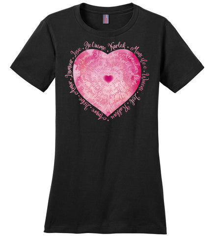 Love Languages Heart (1P) Ladies crew neck short sleeve cotton tee shirt