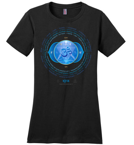 6th Chakra Third Eye Ajna Yogi Lotus - Ladies Crew-Neck Short Sleeve T-Shirt