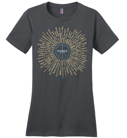 07-Radiate Peace (G) - Ladies Crew-Neck Short Sleeve T-Shirt