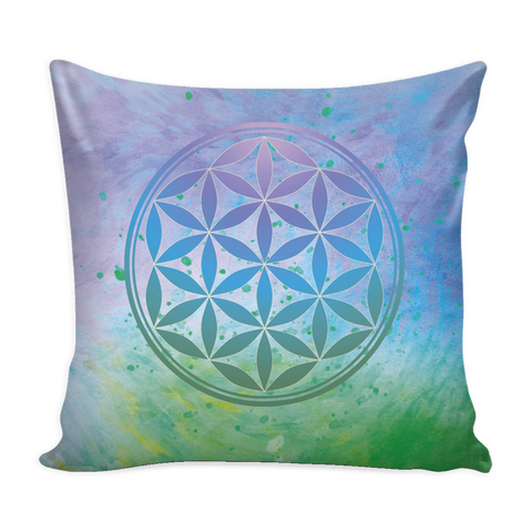 Flower of Life - Blue-Green-Paint - Pillow Cover