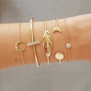 5 Pcs/set pulseras media luna, cruz, pluma y basicas