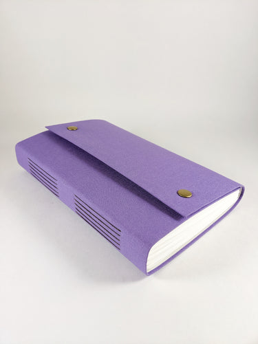 Purple Cloth Journal with Snap Closures and Back Pocket