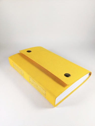 Yellow Cloth Journal with Snap Closures
