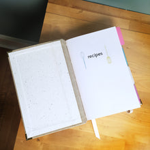 Linen Recipe Book for Your Recipes with Personalized Tabs for Organizing, a Ribbon Bookmark and Elastic Strap