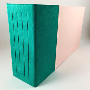Aqua Suede and Rose Linen Instant Photo Album