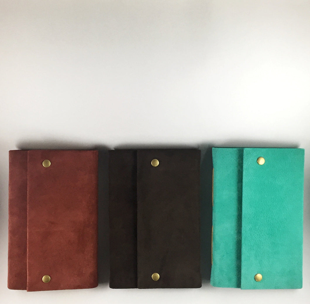 Custom Suede Leather Journal with Bronze Snaps