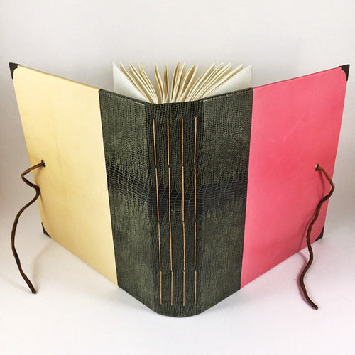 Watercolour Sketchbook in Pink, Cream and Olive Green Leathers